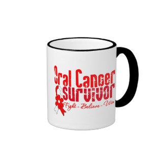 Cinta oral de la flor del superviviente del cáncer taza de café