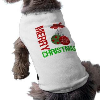 Cinta Ornanment del bulbo de las Felices Navidad Playera Sin Mangas Para Perro
