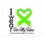 Cinta para mi héroe - conciencia de la salud menta tarjetas postales