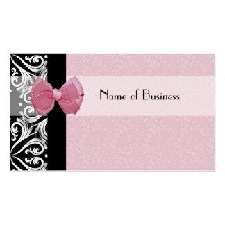 Cinta parisiense elegante del rosa del damasco tarjetas de visita