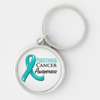 Cinta peritoneal de la conciencia del cáncer llavero redondo plateado