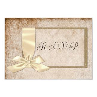 Cinta poner crema y Brown del vintage que casan Invitación 8,9 X 12,7 Cm
