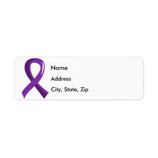 Cinta púrpura 3 de la enfermedad de Alzheimer Etiqueta De Remite