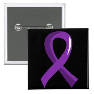 Cinta púrpura 3 de la enfermedad de Alzheimer Pin Cuadrado