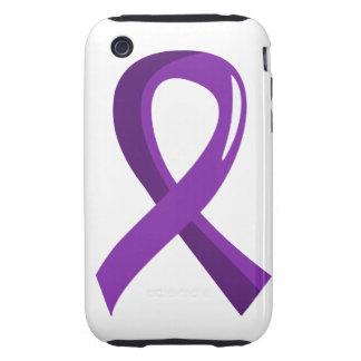 Cinta púrpura 3 del cáncer pancreático iPhone 3 tough cárcasas