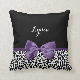 Cinta púrpura bonita del estampado leopardo cojin