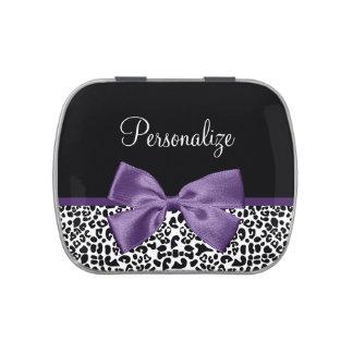 Cinta púrpura bonita del estampado leopardo frascos de dulces