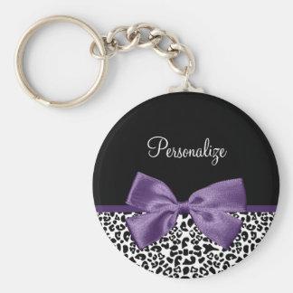 Cinta púrpura bonita del estampado leopardo llaveros personalizados
