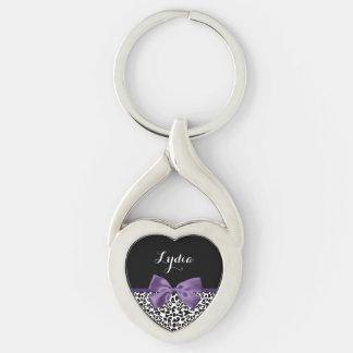 Cinta púrpura bonita del estampado leopardo llavero plateado en forma de corazón