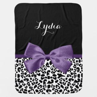 Cinta púrpura bonita del estampado leopardo mantitas para bebé