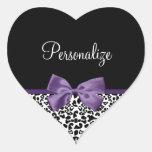 Cinta púrpura bonita del estampado leopardo pegatina de corazon personalizadas