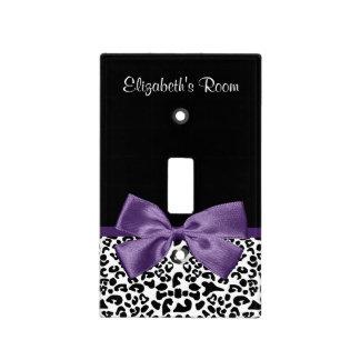 Cinta púrpura bonita del estampado leopardo tapas para interruptores