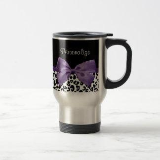 Cinta púrpura bonita del estampado leopardo taza de viaje de acero inoxidable