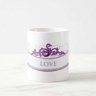 Cinta púrpura con la inscripción del amor tazas