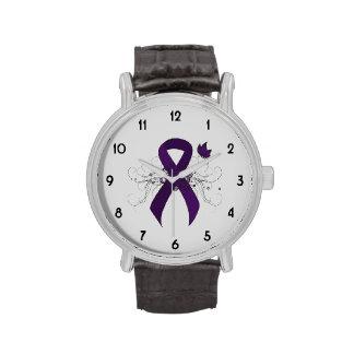 Cinta púrpura con la mariposa relojes de pulsera