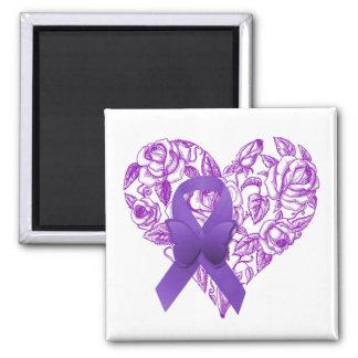 Cinta púrpura de la conciencia con los rosas imán cuadrado