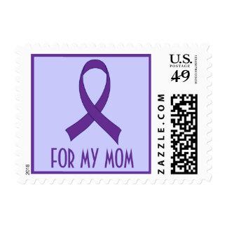Cinta púrpura de la conciencia de Alzheimers para Estampillas