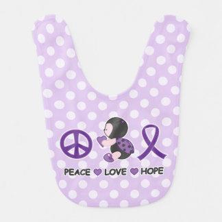 Cinta púrpura de la conciencia de la esperanza del baberos