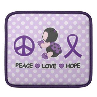 Cinta púrpura de la conciencia de la esperanza del funda para iPads