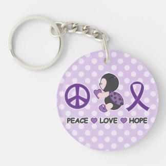 Cinta púrpura de la conciencia de la esperanza del llavero redondo acrílico a doble cara