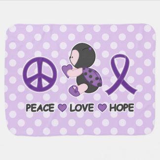Cinta púrpura de la conciencia de la esperanza del mantita para bebé