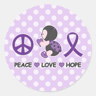 Cinta púrpura de la conciencia de la esperanza del pegatina redonda