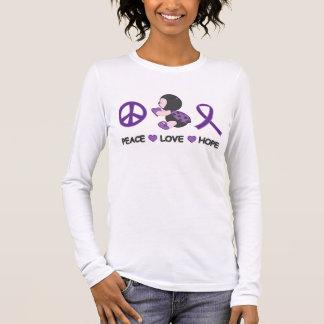 Cinta púrpura de la conciencia de la esperanza del playera de manga larga