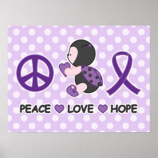 Cinta púrpura de la conciencia de la esperanza del póster