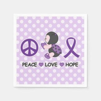 Cinta púrpura de la conciencia de la esperanza del servilleta de papel
