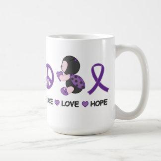Cinta púrpura de la conciencia de la esperanza del taza de café