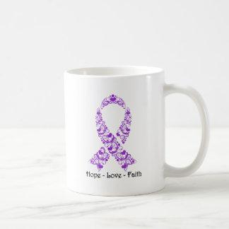Cinta púrpura de la conciencia de la esperanza taza de café