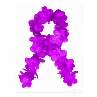 Cinta púrpura de la conciencia de la flor postal