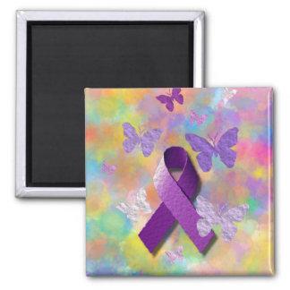 Cinta púrpura de la conciencia imán cuadrado
