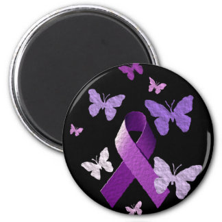 Cinta púrpura de la conciencia imán redondo 5 cm
