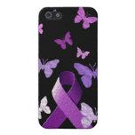 Cinta púrpura de la conciencia iPhone 5 funda
