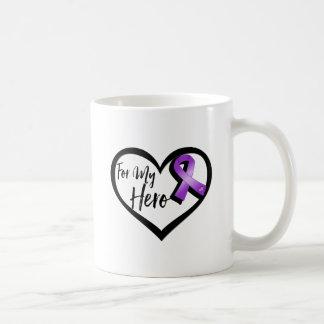 Cinta púrpura de la conciencia para mi héroe taza de café