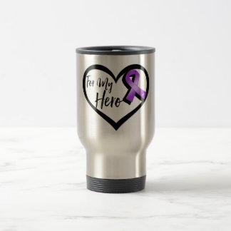 Cinta púrpura de la conciencia para mi héroe taza de viaje