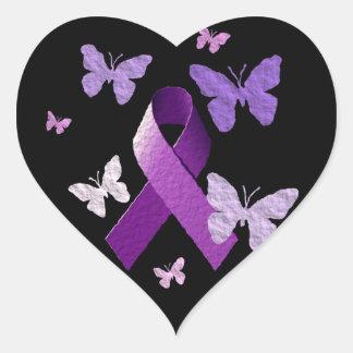 Cinta púrpura de la conciencia calcomanías corazones personalizadas