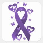 Cinta púrpura de la conciencia calcomanías cuadradases