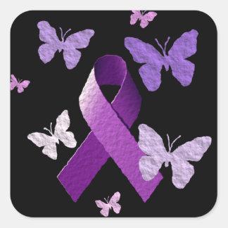 Cinta púrpura de la conciencia pegatina cuadrada
