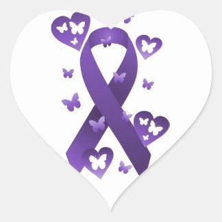 Cinta púrpura de la conciencia pegatina en forma de corazón