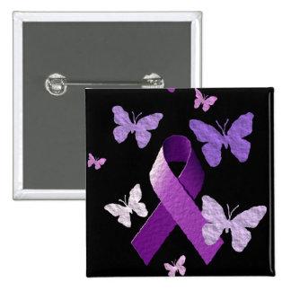 Cinta púrpura de la conciencia pin cuadrado