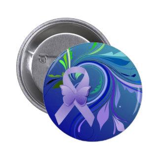 Cinta púrpura de la conciencia pin redondo 5 cm