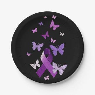 Cinta púrpura de la conciencia plato de papel de 7 pulgadas