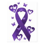 Cinta púrpura de la conciencia postales