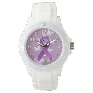 Cinta púrpura de la conciencia relojes