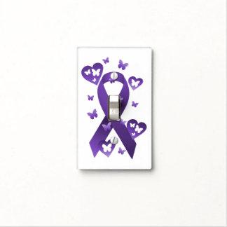 Cinta púrpura de la conciencia cubiertas para interruptor