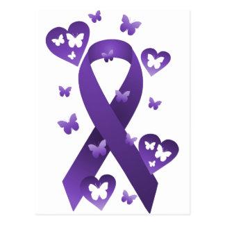 Cinta púrpura de la conciencia tarjeta postal