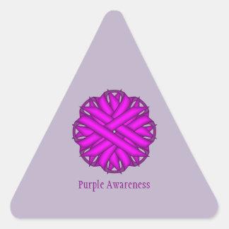 Cinta púrpura de la flor de Kenneth Yoncich Pegatina Triangular