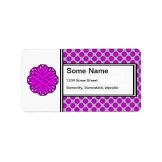 Cinta púrpura de la flor etiqueta de dirección